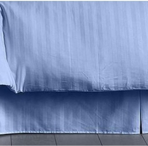 Charter Club Damask Stripe Lake Blue King Bedskirt SOC 361
