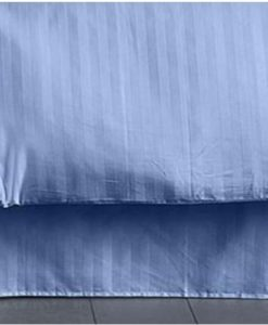 Charter Club Damask Stripe Lake Blue Double Bedskirt BS0008