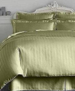 Charter Club Damask Stripe Palmetto Green King Bedskirt BS0009