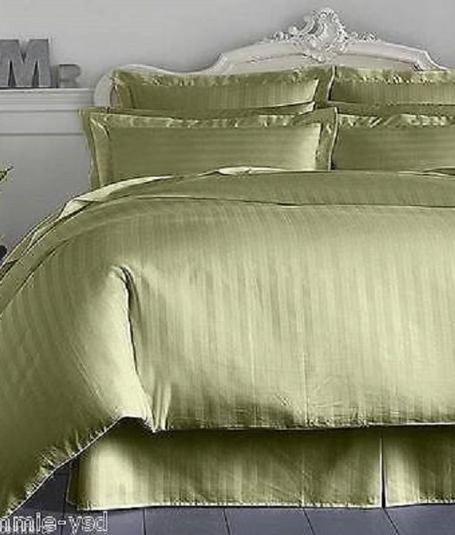 Charter Club Damask Stripe Palmetto Green Double Bedskirt  BS0002