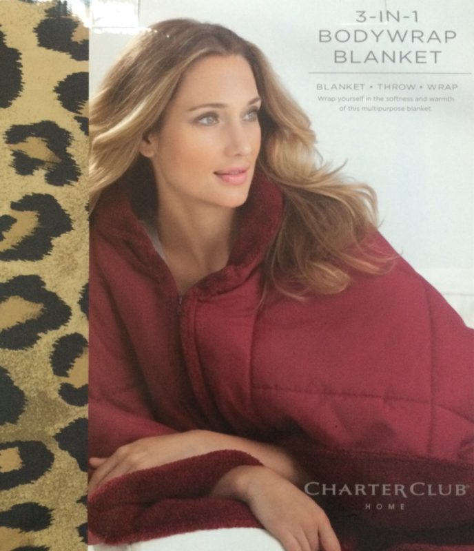 Charter Club 3 In 1 Leopard Print Body Wrap Blanket SOC 560