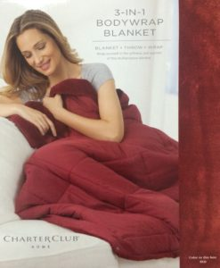 Charter Club 3 In 1 Red Body Wrap Blanket SOC 561 SOC 561