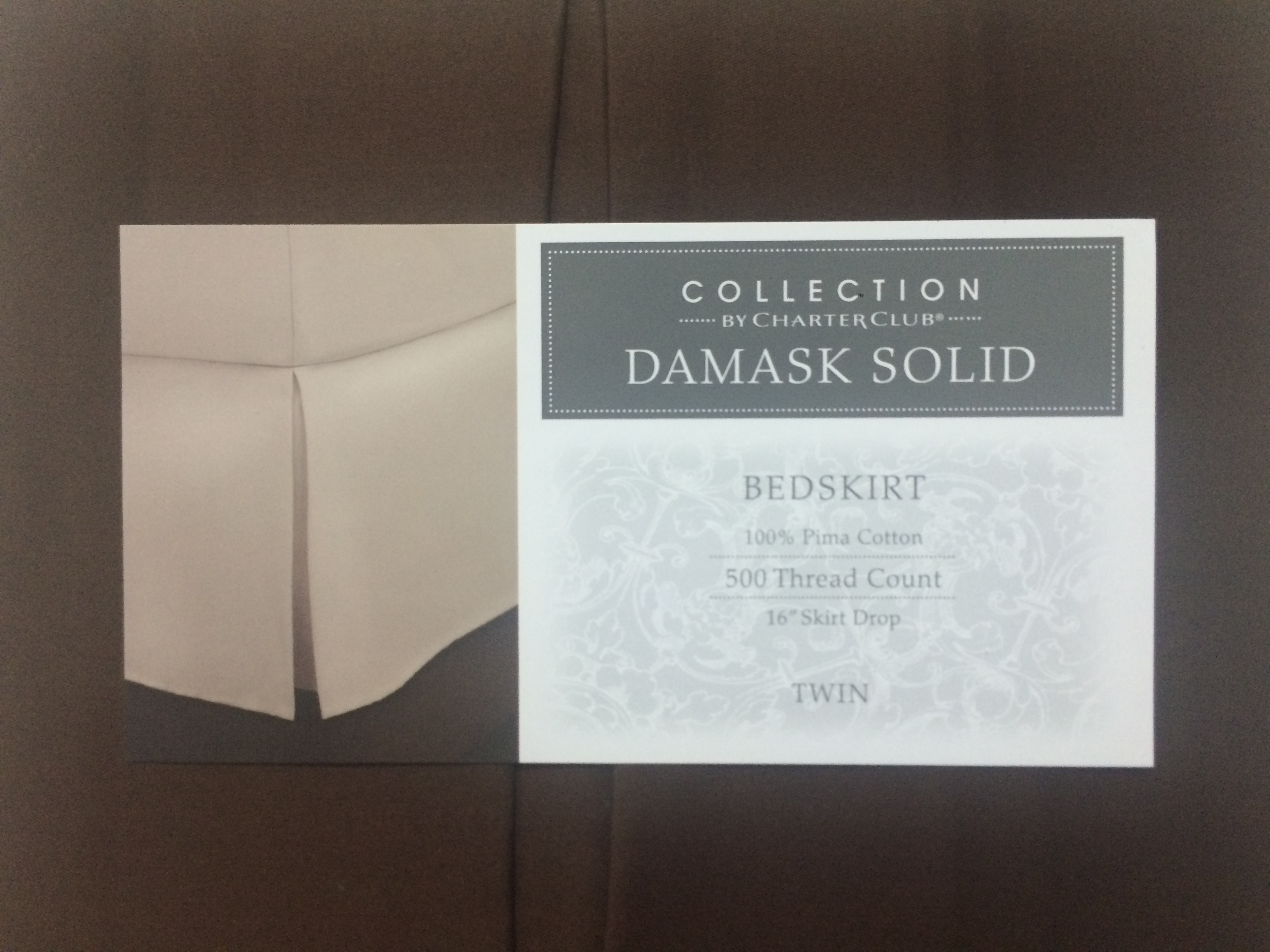 Charter Club Damask Solid Chocolate Bedskirt BS0004