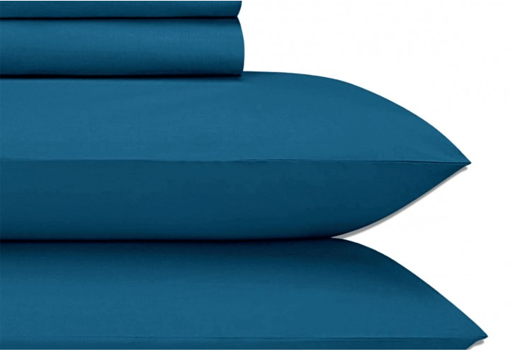 Cotton Sateen Peacock Blue King Sheet Set JU008