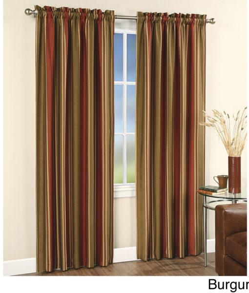 Faux Silk Stripe Rod Pocket 84″ Curtain Panel SOC 659