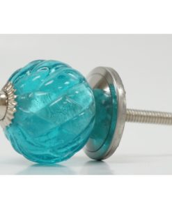 Glass Turquoise Drawer Pull Side View