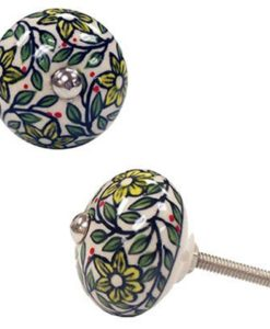 Green Flower Ceramic Drawer Pull SOC 1001