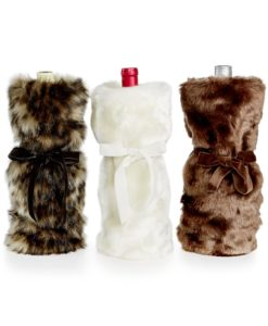 INC Chocolate Faux Fur Wine Bag SOC 564
