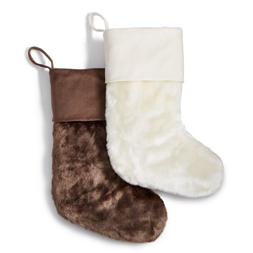 INC Faux Fur Ivory Stocking SOC 661