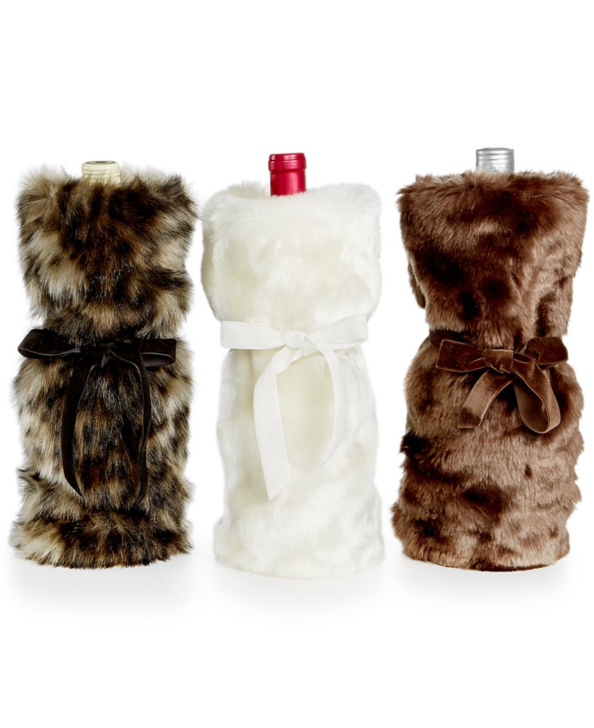 INC Ivory Faux Fur Wine Bag SOC 563