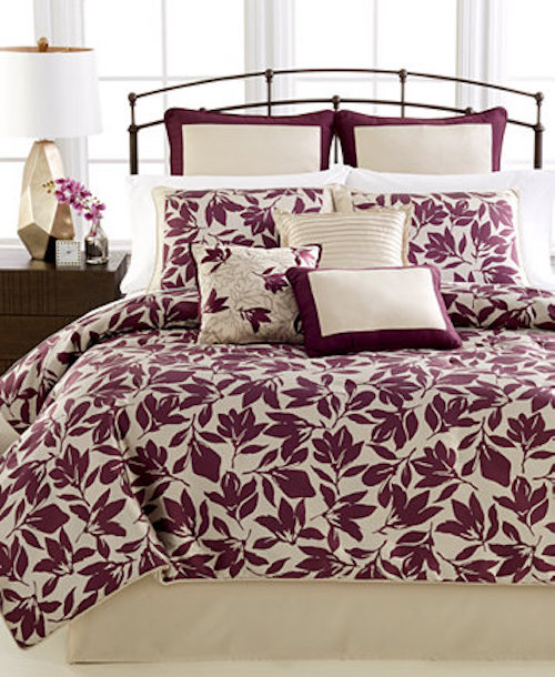 Martha Stewart Berkshire Leaves Queen Comforter Set SOC 1253
