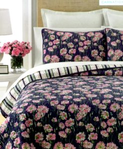 Martha Stewart Carnation Field Twin 2 Piece Quilt Set SOC 1081
