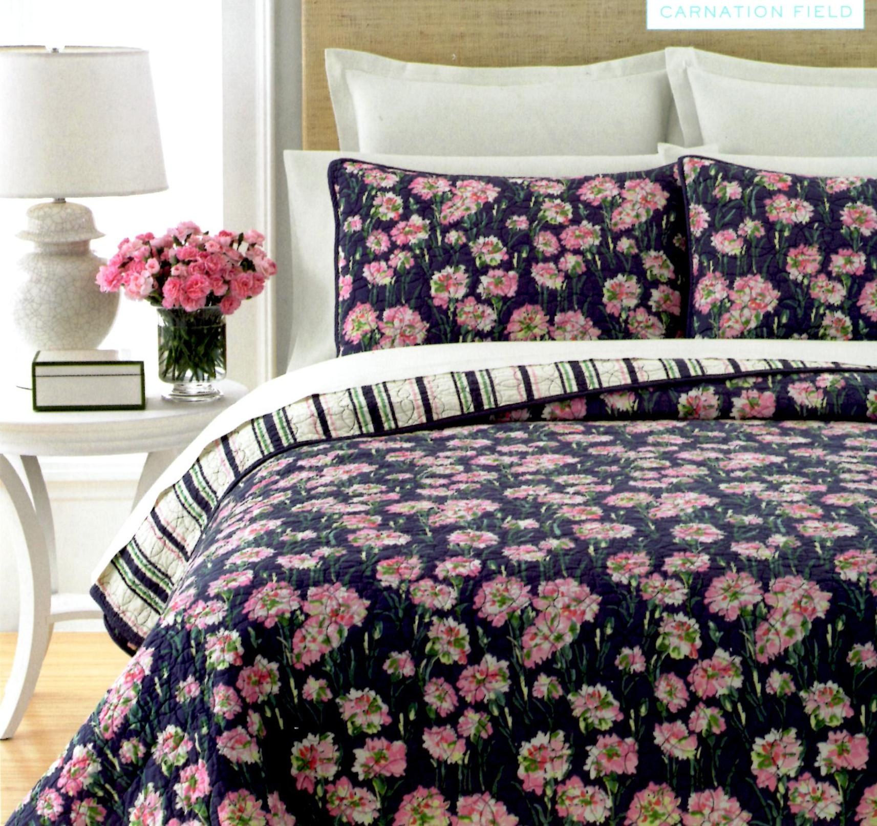 Martha Stewart Carnation Field Queen 3 Piece Quilt Set SOC 1080