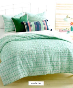 Martha Stewart On the Dot Seafoam Queen Comforter Set SOC 1318