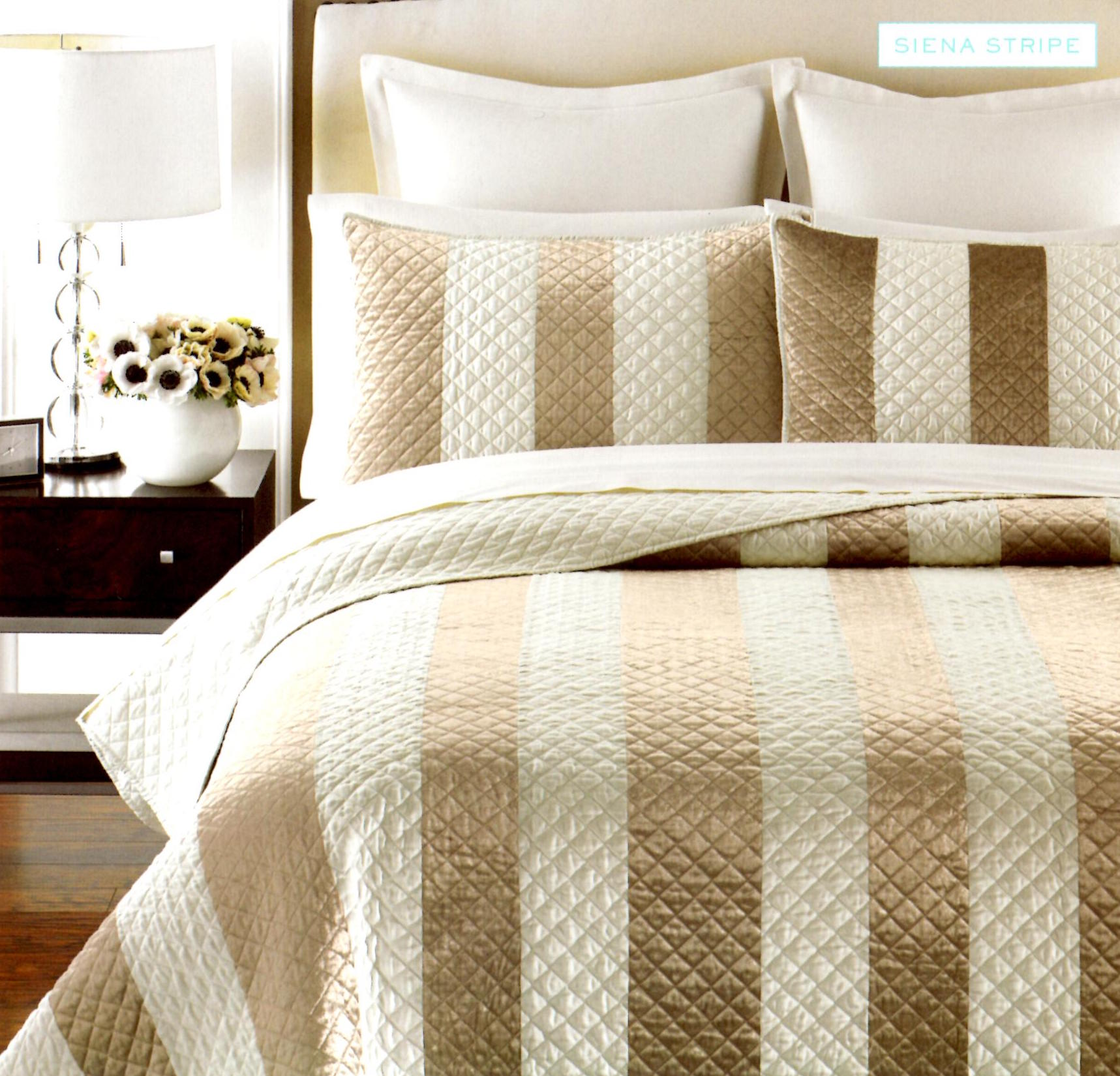 Martha Stewart Siena Stripe King Quilt SOC 1098