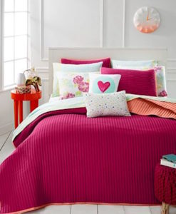 Whim By Martha Stewart Turnabout Lipstick Twin XL Quilt Set SOC 1142