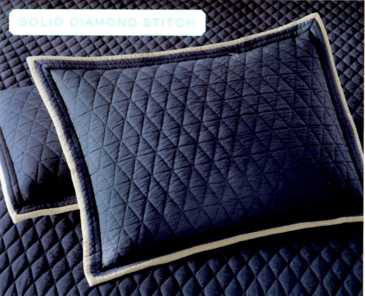 Martha Stewart Solid Diamond Stitch Navy Standard Sham SOC 229