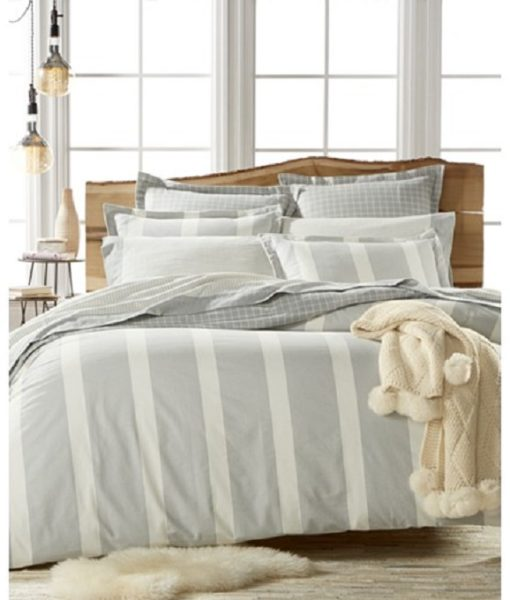 Martha Stewart Willow Stripe King Flannel Duvet Cover SOC 1063
