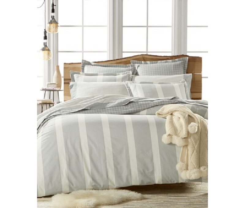 Martha Stewart Willow Stripe King Flannel Duvet Cover