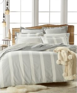 Martha Stewart Willow Stripe Twin Flannel Duvet Cover SOC 1157