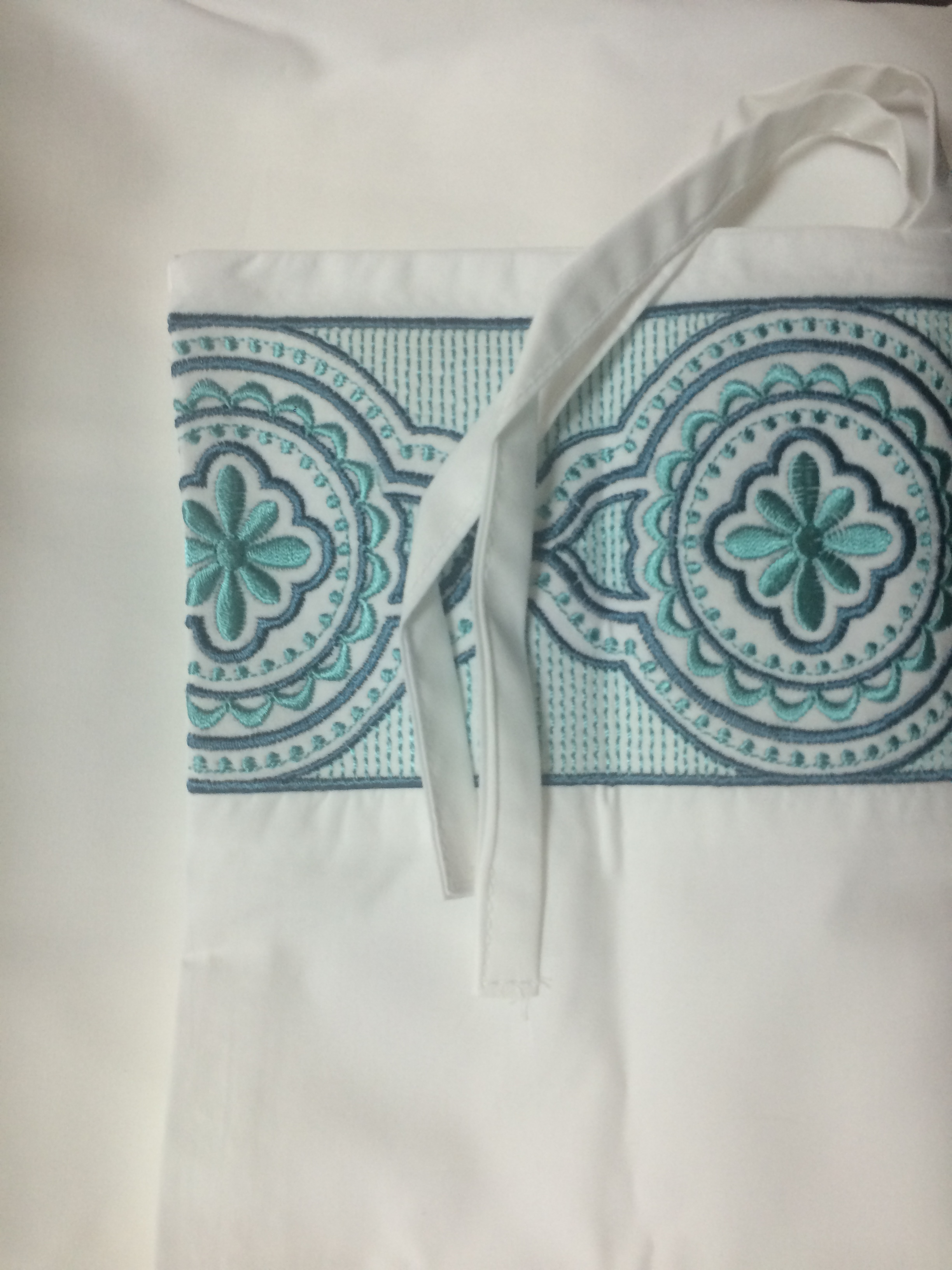 Sky Embroidered Frame Turquoise Pillow Sham Detail