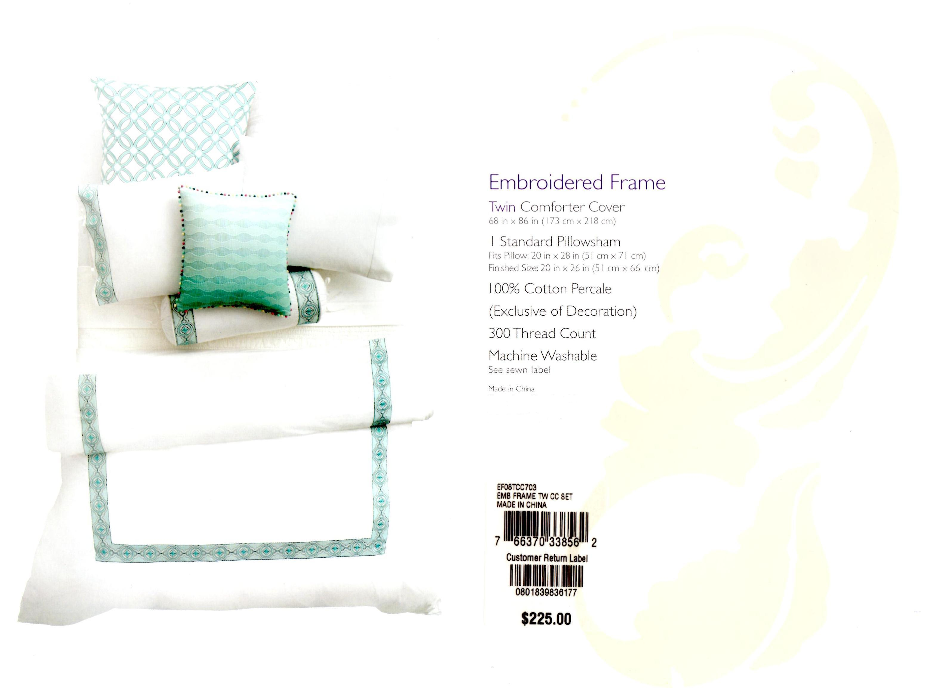Sky Embroidered Frame Turquoise Twin Duvet Set - Shop Outlet Canada
