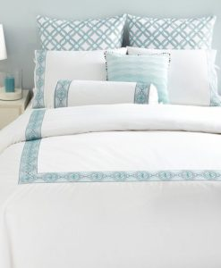 Sky Embroidered Frame Turquoise King Duvet Set SK006