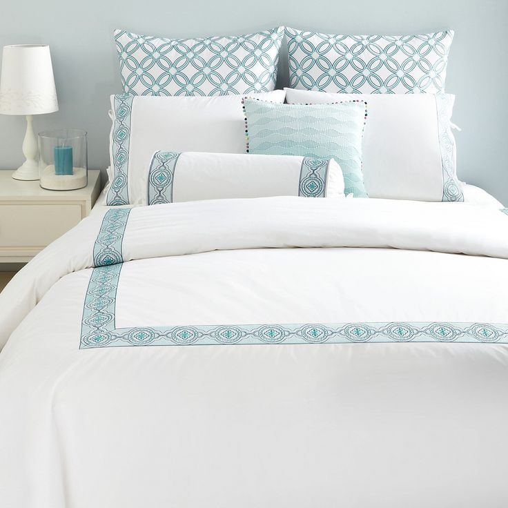 Sky Embroidered Frame Turquoise Twin Duvet Set Shop