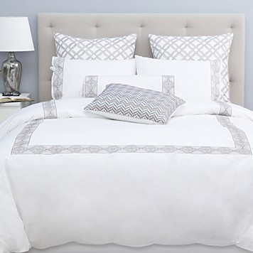 Sky Embroidered Frame Espresso Twin Duvet Set SK002