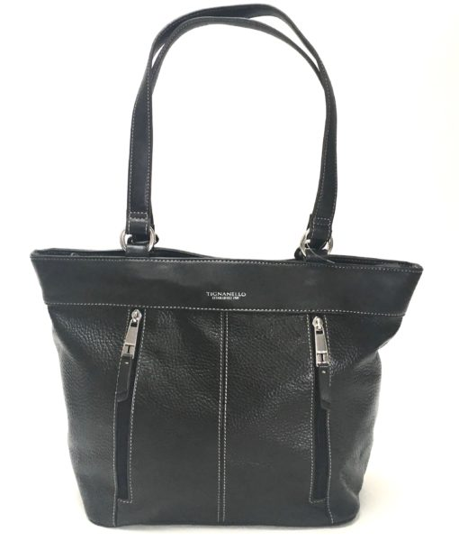 Tignanello Black Leather  Shoulder Tote SOC 1202