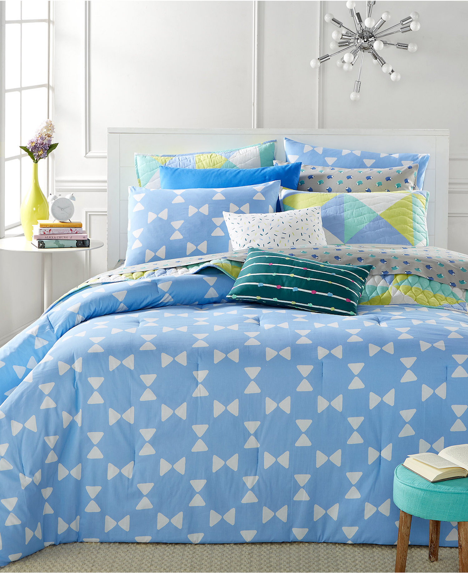 Whim By Martha Stewart Bow Tie Queen Duvet Set SOC 1084