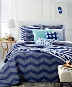 Whim By Martha Stewart Spot Chevron Twin XL Duvet Set SOC 1097