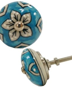 White Flower Ceramic Drawer Pull SOC 1000